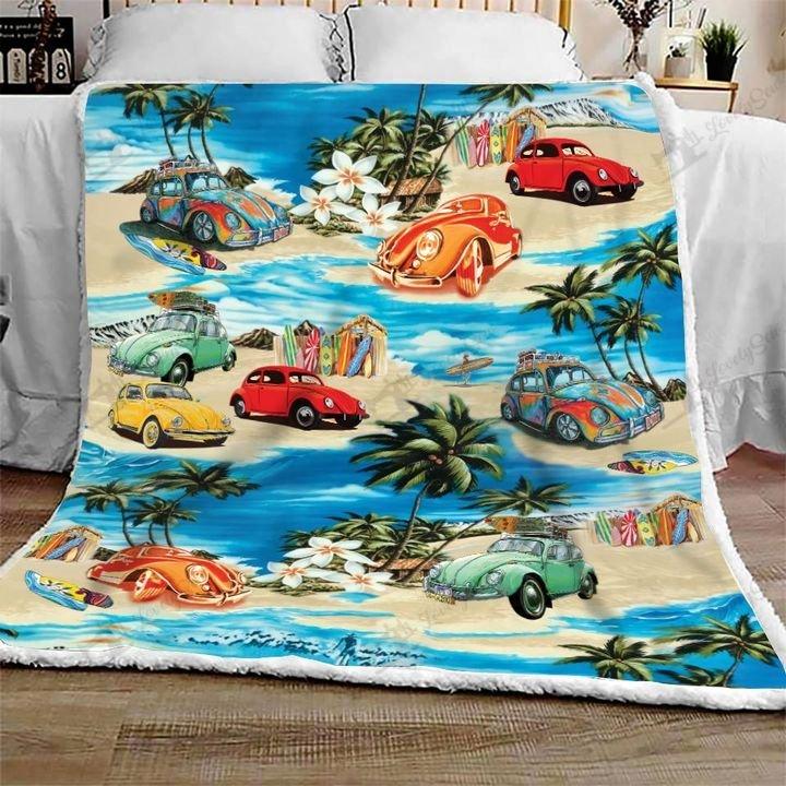 Volkswagen beetle hawaiian beach full printing blanket 1