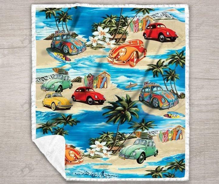 Volkswagen beetle hawaiian beach full printing blanket 3