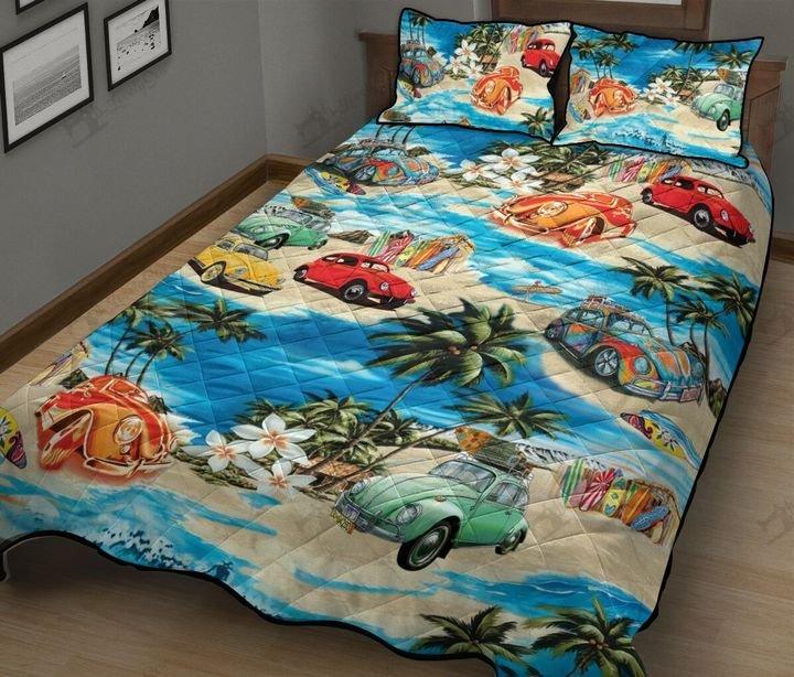 Volkswagen beetle hawaiian beach full printing quilt 1
