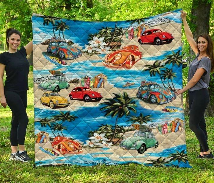 Volkswagen beetle hawaiian beach full printing quilt 2