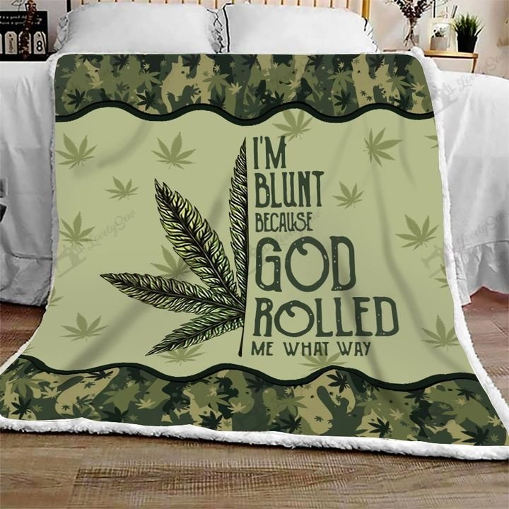 Weed mandala i'm blunt because god rolled me that way blanket 1