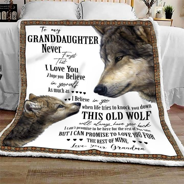 Wolf to my granddaughter never forget that i love you blanket 1