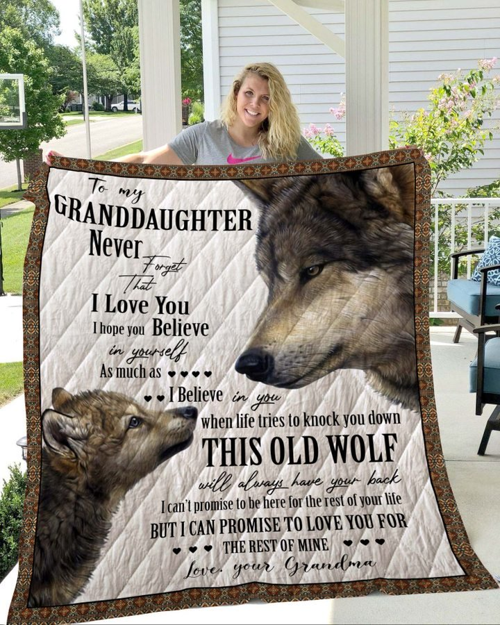 Wolf to my granddaughter never forget that i love you quilt 1