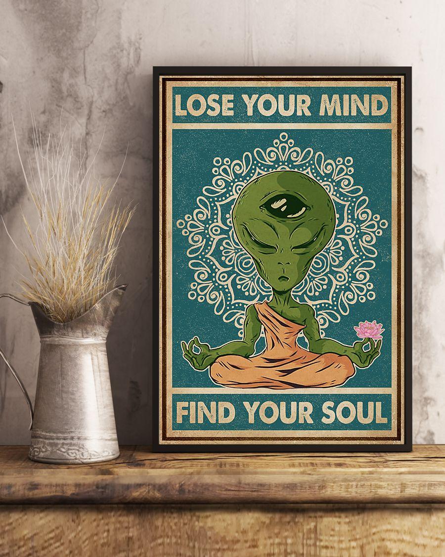 alien yoga lose your mind and find your soul vintage poster 2