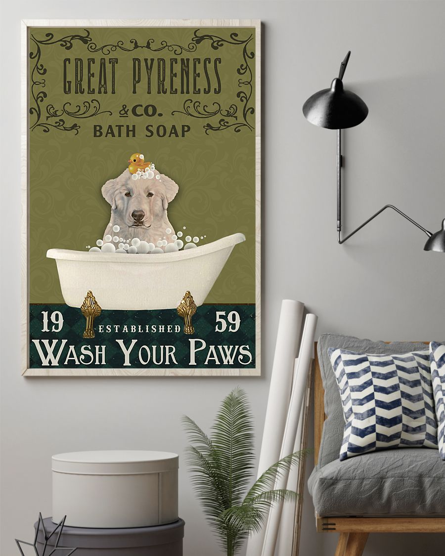 bath soap company great pyreness wash your paws vintage poster 2