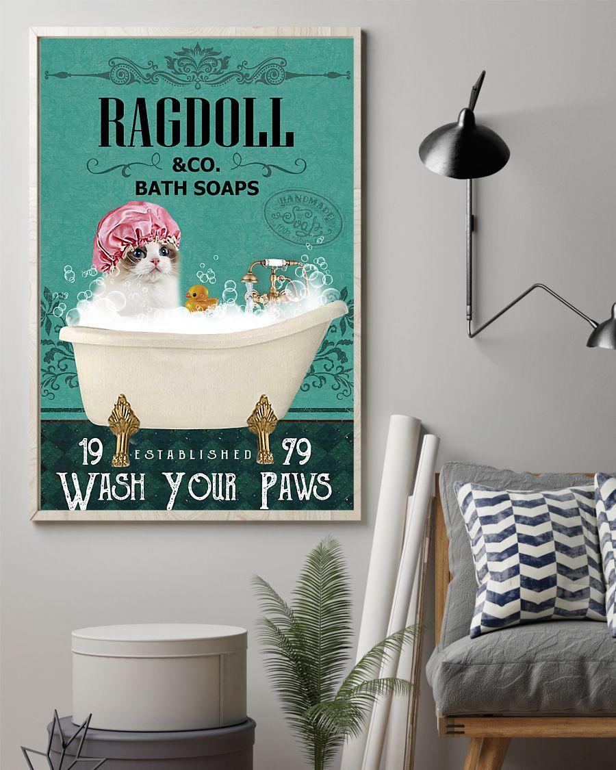 bath soap company ragdoll wash your paws cat vintage poster 2