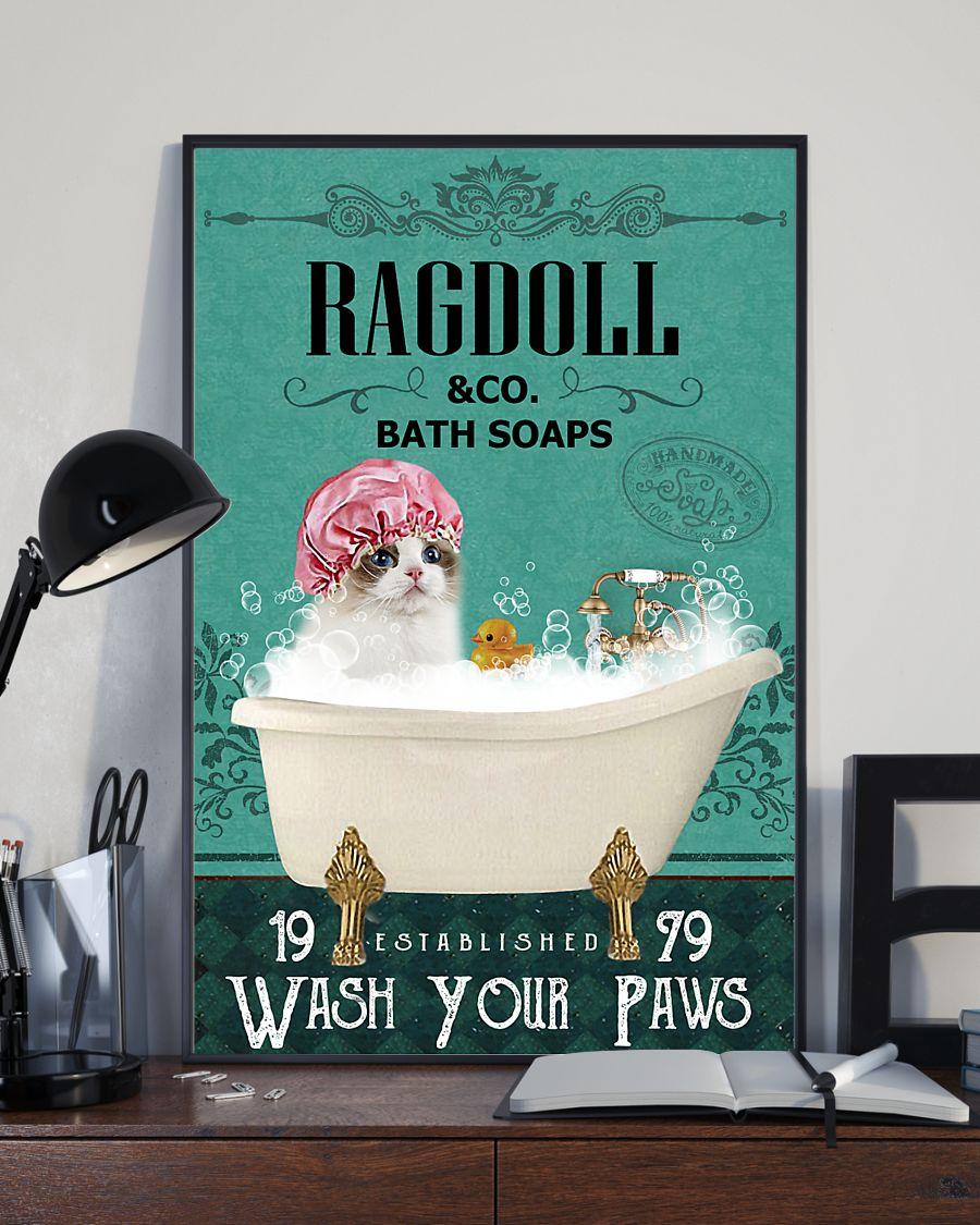 bath soap company ragdoll wash your paws cat vintage poster 3