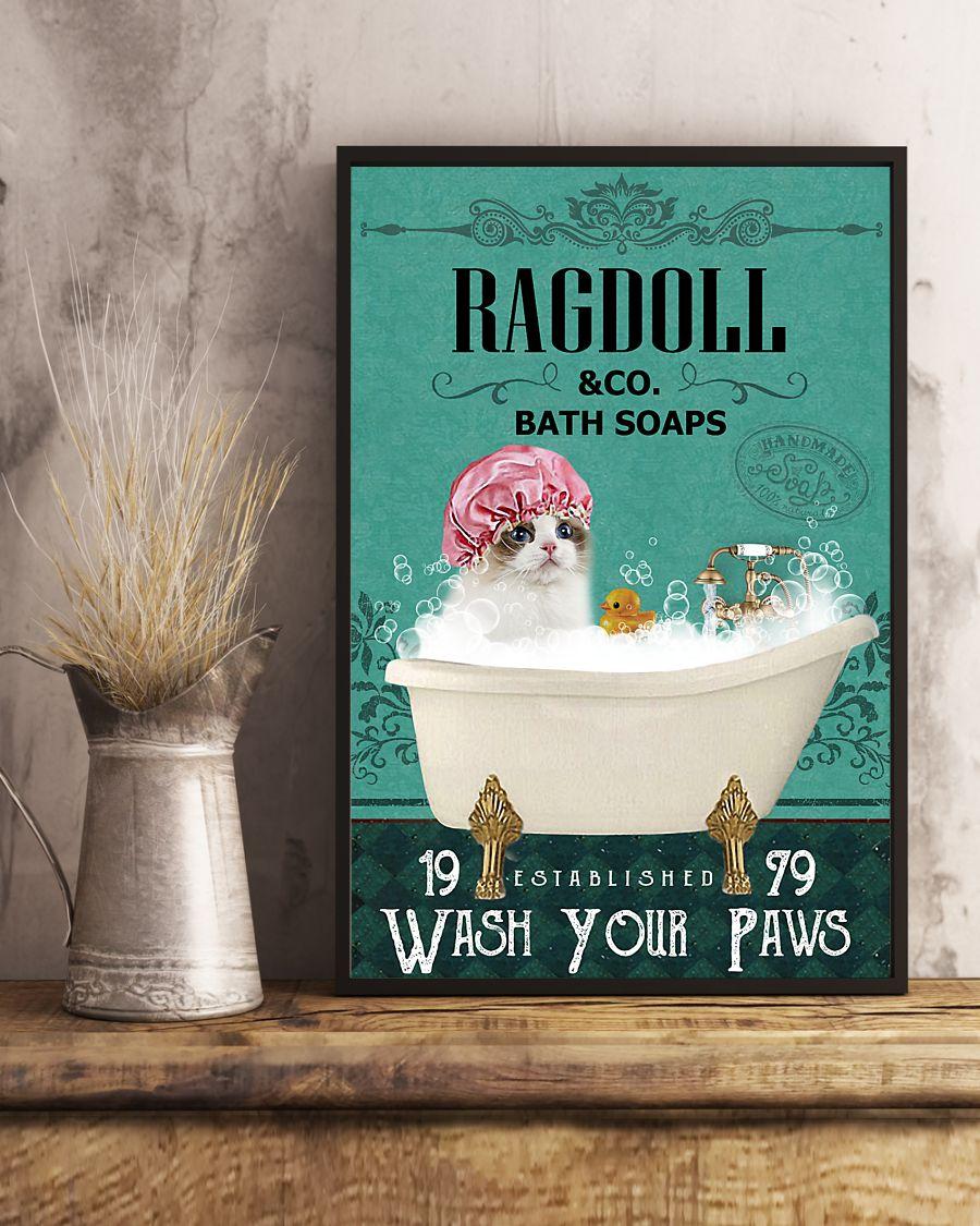 bath soap company ragdoll wash your paws cat vintage poster 4