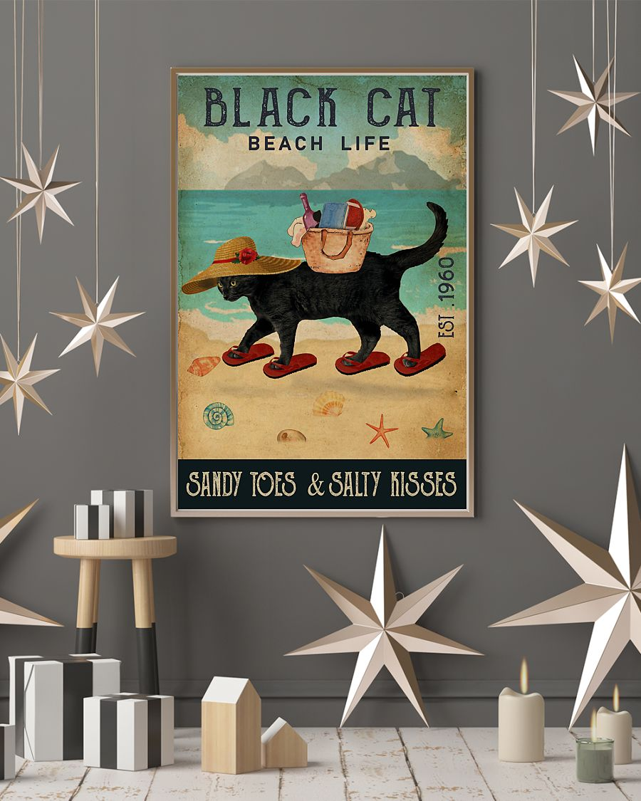 beach life black cat sandy toes and salty kisses vintage poster 3