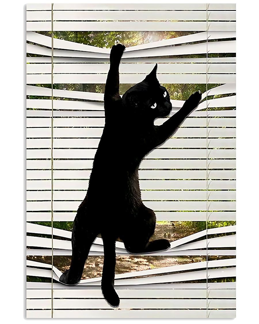 black cat on window poster 1