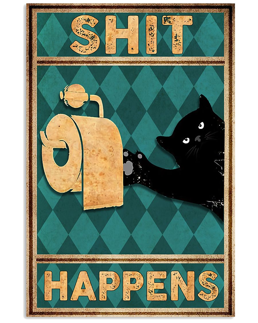 black cat shit happens vintage poster 1