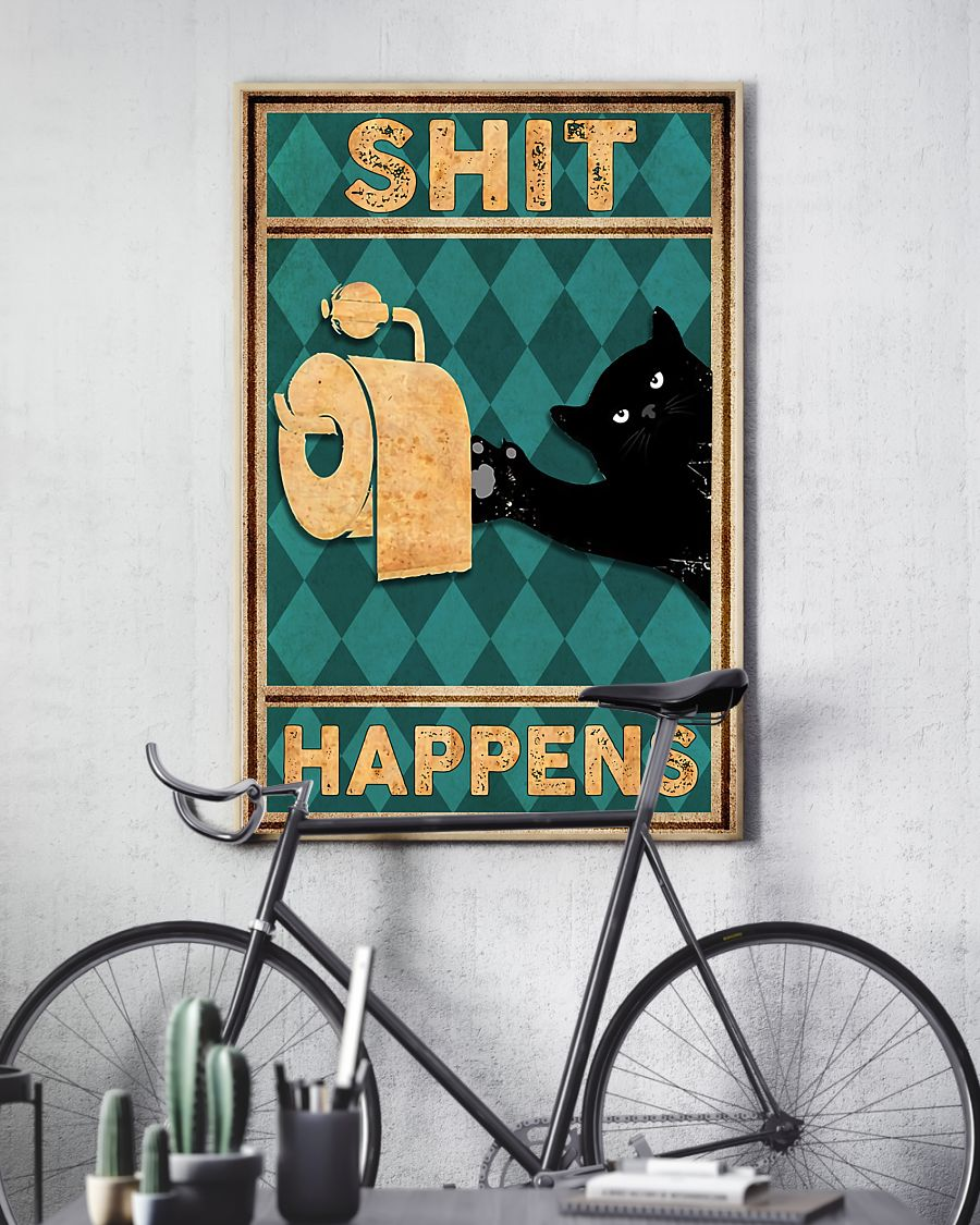 black cat shit happens vintage poster 3
