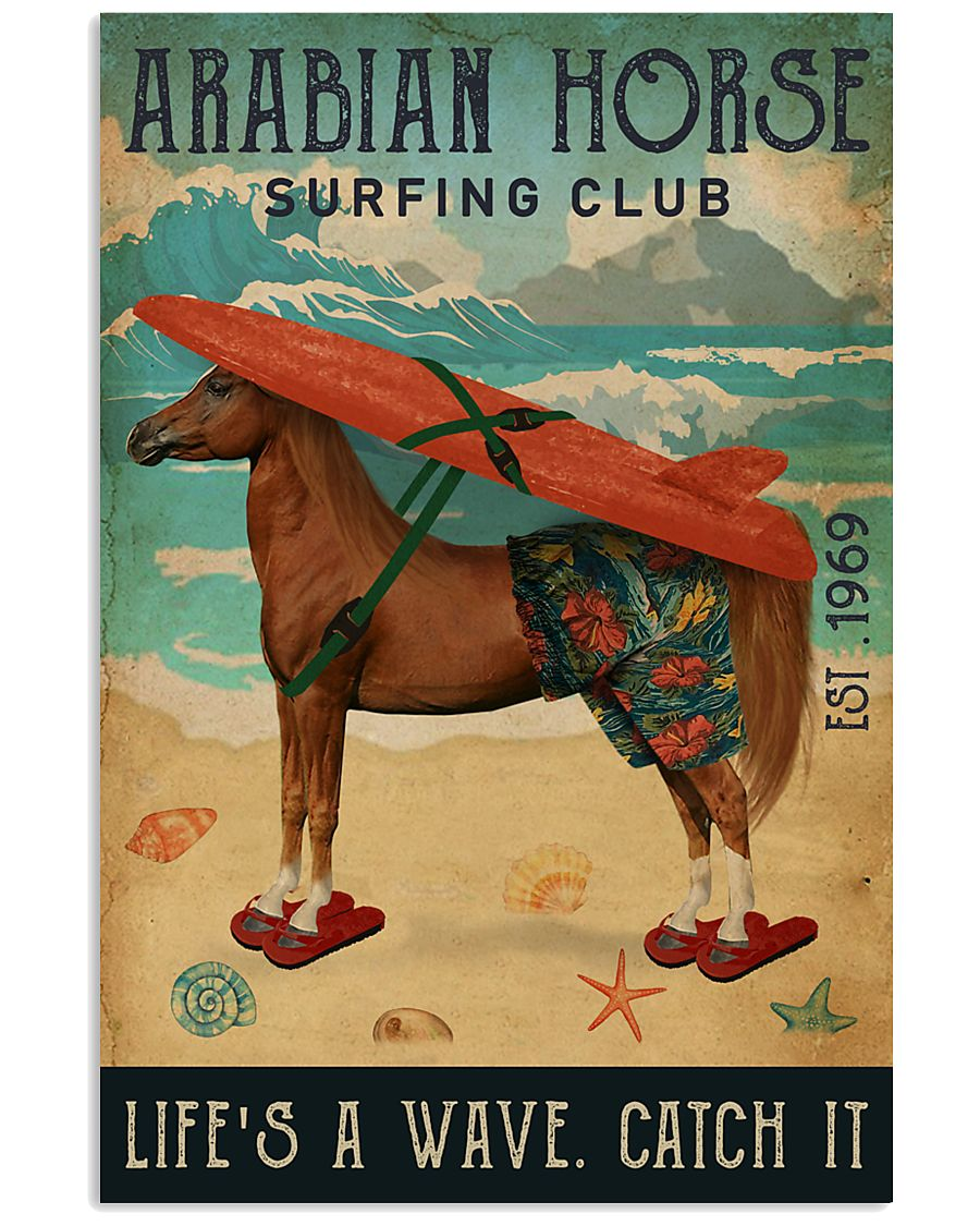 diving club arabian horse lifes a wave catch it vintage poster 1