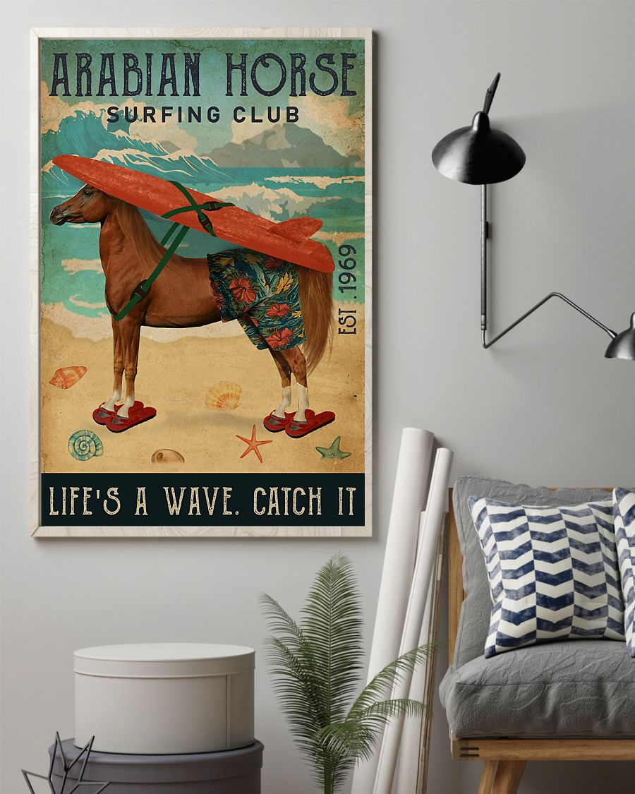 diving club arabian horse lifes a wave catch it vintage poster 2