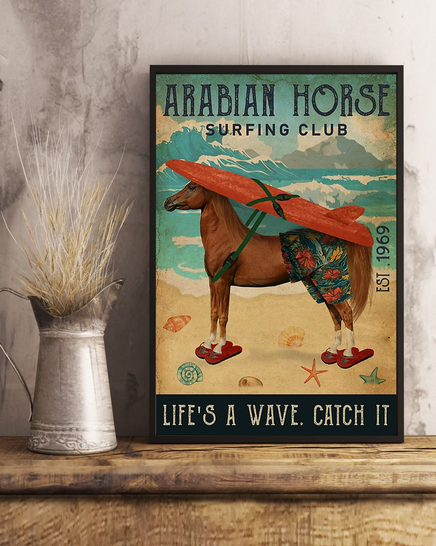 diving club arabian horse lifes a wave catch it vintage poster 3