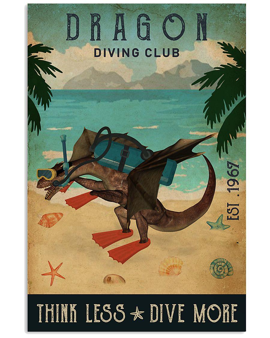 diving club dragon think less dive more vintage poster 1