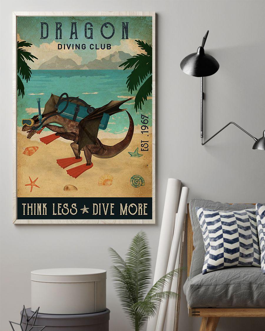 diving club dragon think less dive more vintage poster 2