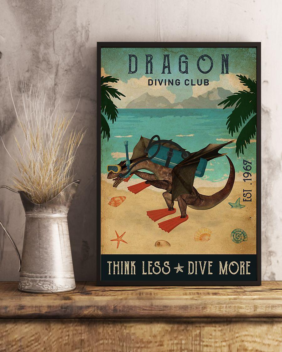 diving club dragon think less dive more vintage poster 3