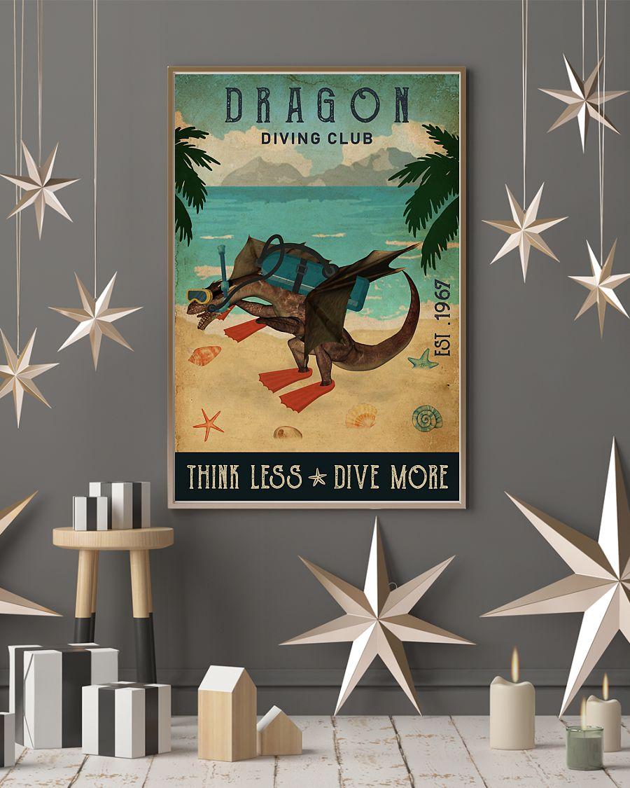 diving club dragon think less dive more vintage poster 4