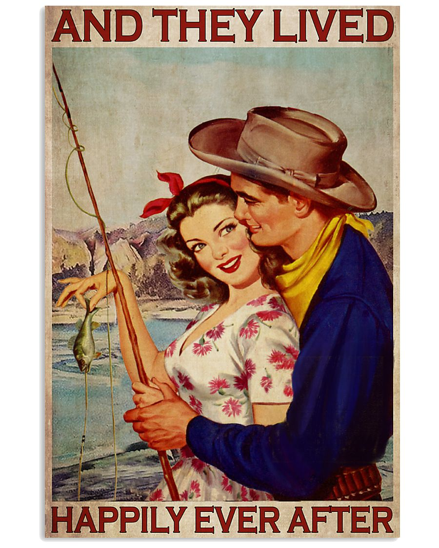 fishing couple and they lived happily ever after vintage poster 1