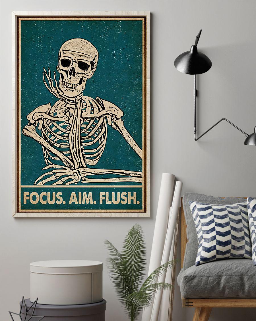 focus aim flush skeleton vintage poster 2