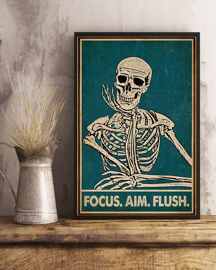 focus aim flush skeleton vintage poster 3