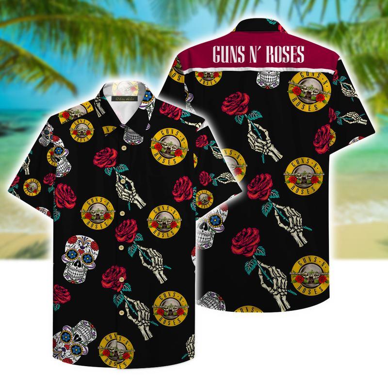 guns n roses and sugar skull aloha tropical full printing hawaiian shirt 1