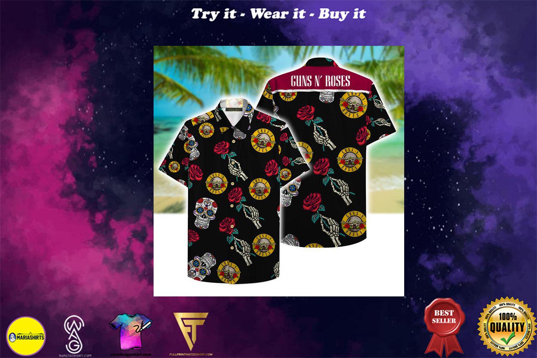 guns n roses and sugar skull aloha tropical full printing hawaiian shirt - Copy