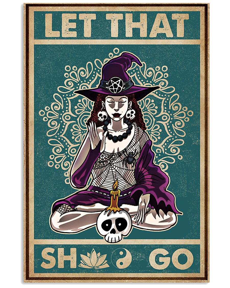 halloween let that shit go witch yoga vintage poster 1