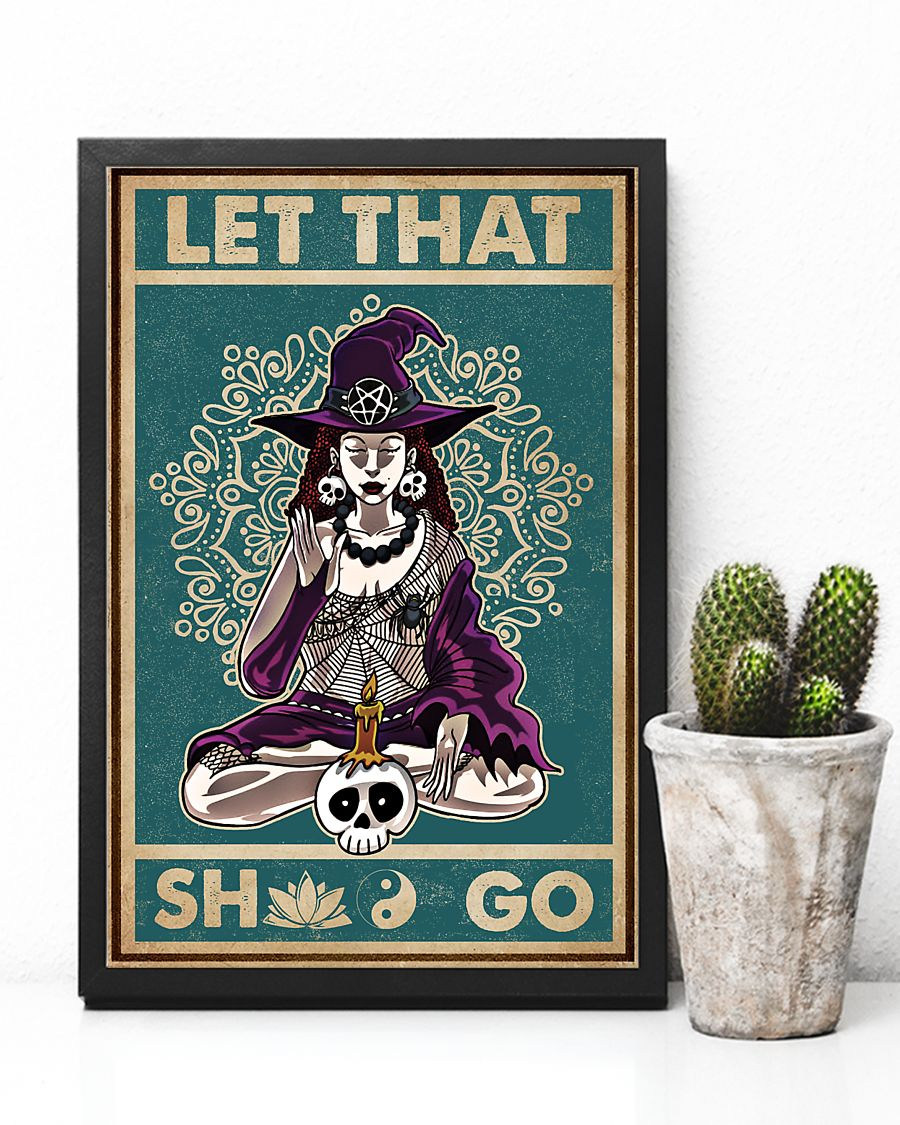 halloween let that shit go witch yoga vintage poster 3
