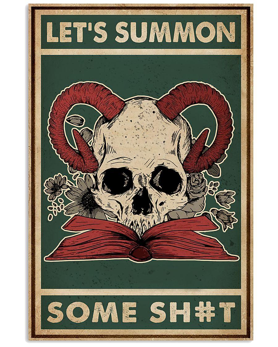 halloween lets summon some shit skull devil vintage poster 1