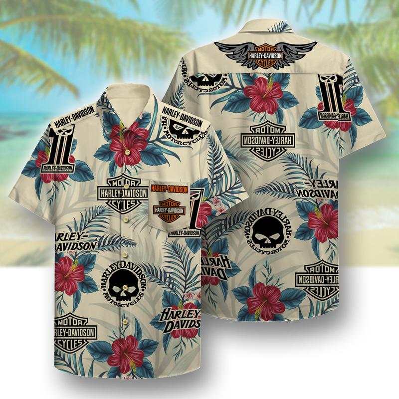harley-davidson motor company full printing hawaiian shirt 1