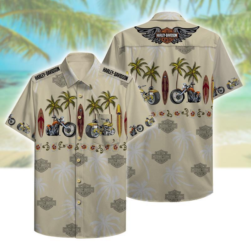 harley-davidson motorcycles full printing hawaiian shirt 1