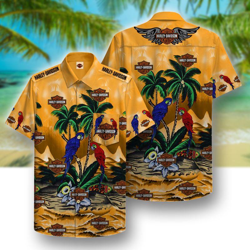 harley-davidson motorcycles parrot full printing hawaiian shirt 1