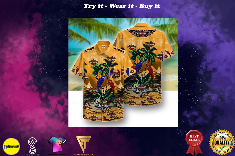 harley-davidson motorcycles parrot full printing hawaiian shirt - Copy