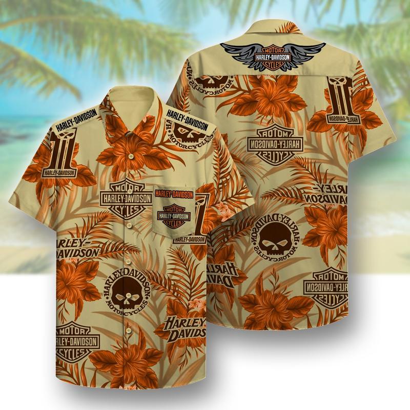 harley-davidson symbol pattern beach hawaiian shirt 1