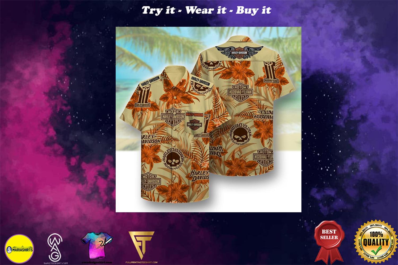 harley-davidson symbol pattern beach hawaiian shirt - Copy