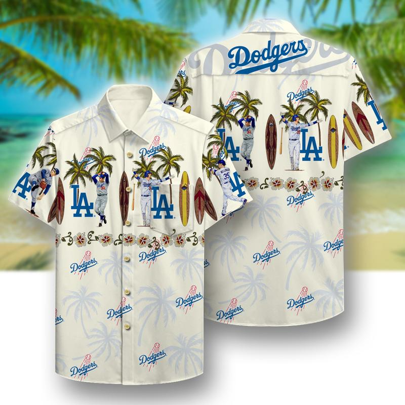 los angeles dodgers aloha tropical full printing hawaiian shirt 1 - Copy