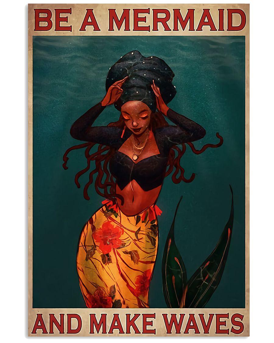 mermaid be a mermaid and make waves vintage poster 2