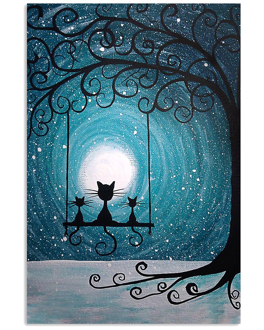 moon light black cat vintage poster 1