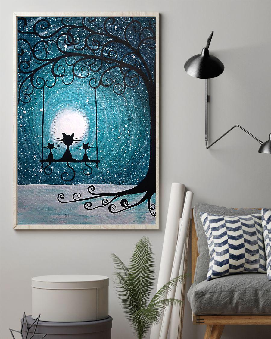 moon light black cat vintage poster 2