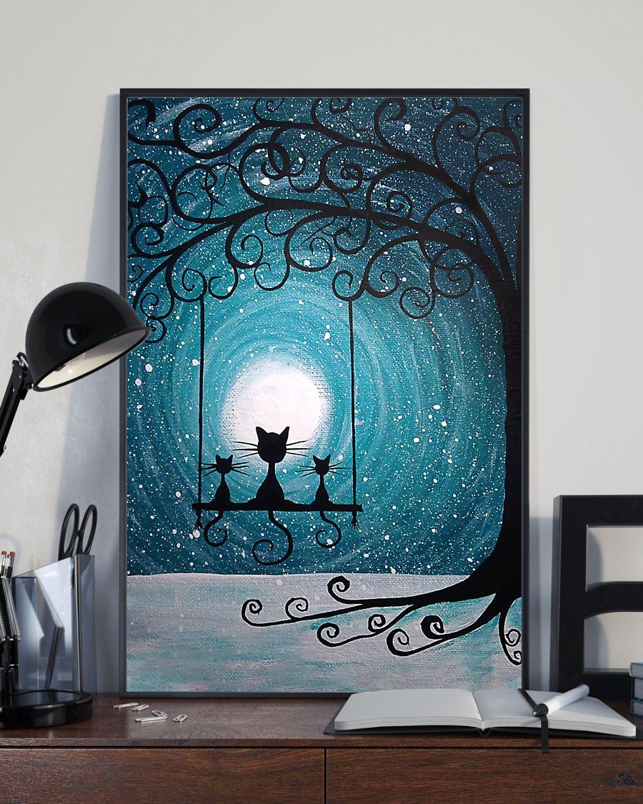 moon light black cat vintage poster 3