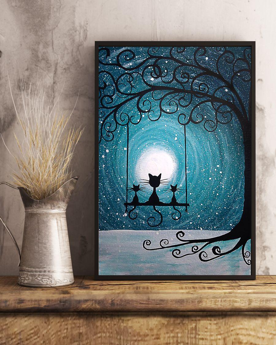 moon light black cat vintage poster 4