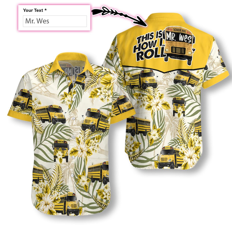 personalized name school bus driver full printing hawaiian shirt 1