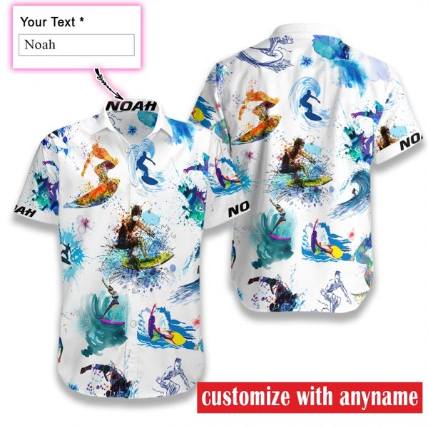 personalized name surfing art water color full printing hawaiian shirt 1