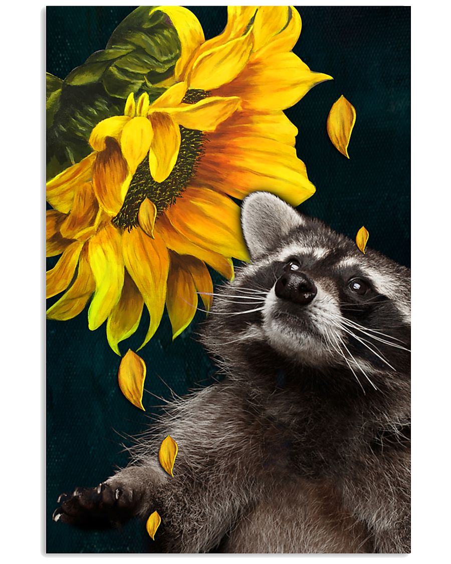 raccoon and sunflower poster 1