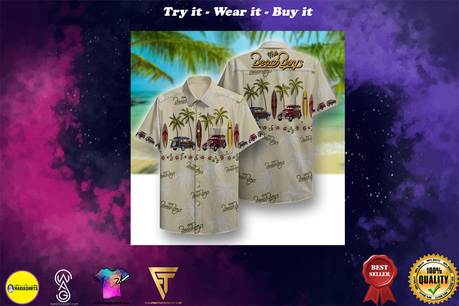 the beach boys full printing hawaiian shirt - Copy