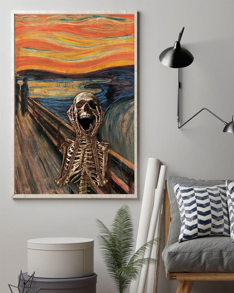 the scream edvard munch skeleton vintage poster 2
