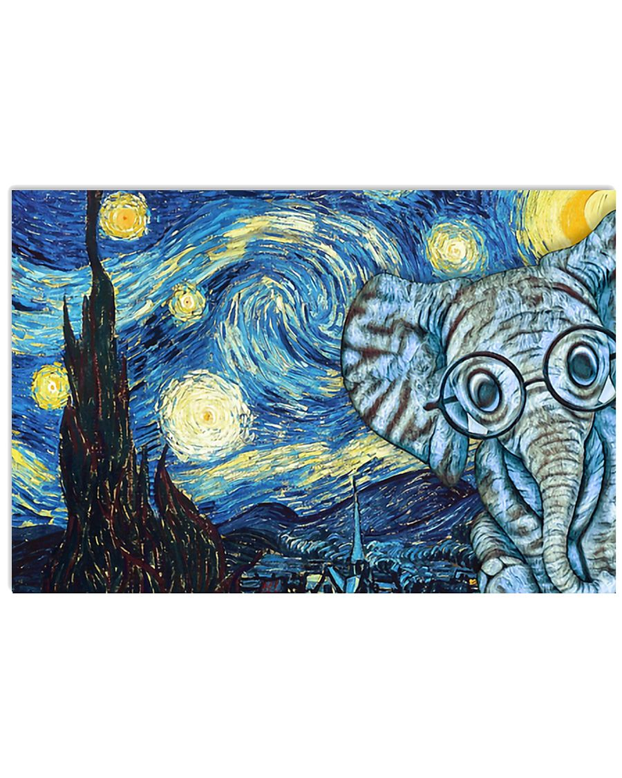 vincent van gogh starry night elephant vintage poster 4