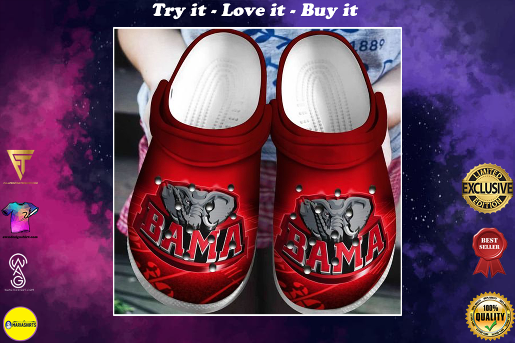 alabama crimson tide football team crocband clog - Copy